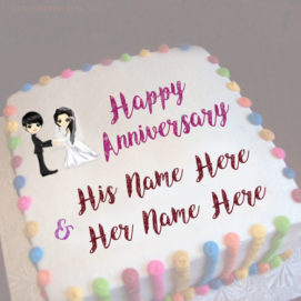 Print Couple Name On Beautiful Anniversary Wishes Cake