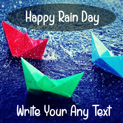 Print Name On Happy Rain Day Wishes Paper Boat DP