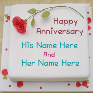 Special Name Wishes Happy Anniversary Cake