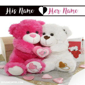 Write BF And GF Name Love Teddy's Image