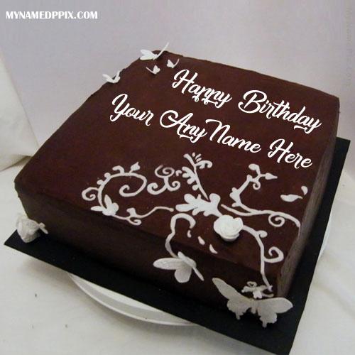 Write Name Design Chocolate Birthday Cake Wishes Image