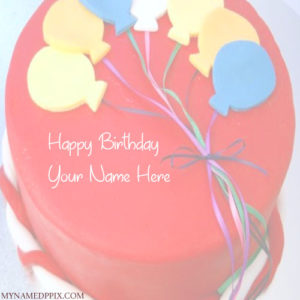 Write Name On Balloon Birthday Cake For Kids Wishes