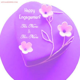 Happy Engagement Wishes Heart Cake With Name