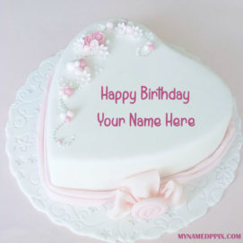 Heart Look Birthday Cake With Name Wishes