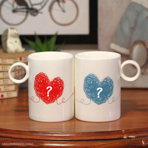 His And Her Name First Letter On Coffee Cup