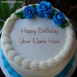 Love Roses Birthday Cake With Name Image