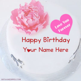 Love U Forever Birthday Cake With Name
