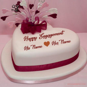 Lover Name Happy Engagement Cake Image