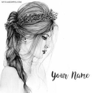 Print Name On Sad Drawing Girl Image
