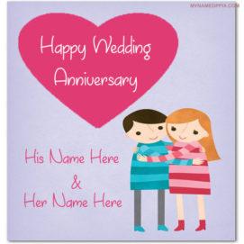 Wedding Anniversary Wish Card With Name Image
