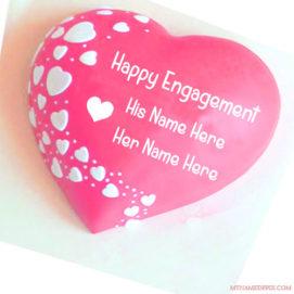Write Couple Name Engagement Wishes Cake Image