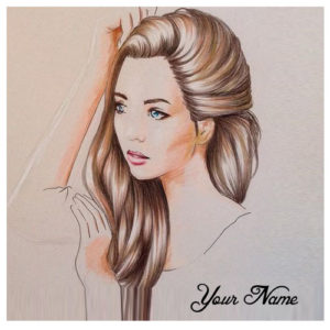 Write Name On Beautiful Drawing Girl Hair Image