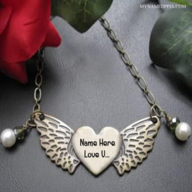 Write Name On Butterfly Pendant Love U Image