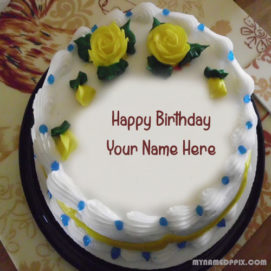 Write Name On Flowers Birthday Cake DP