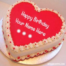 Write Name On Heart Look Birthday Cake