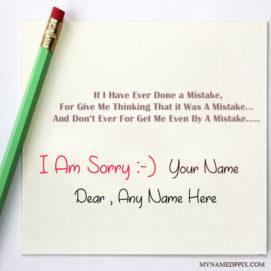 Write Name On I Am Sorry Greeting Card Image