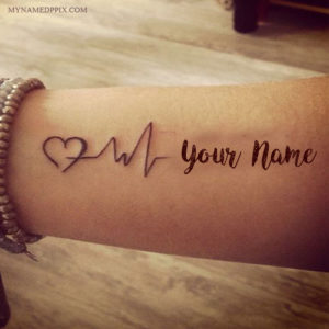 Write Name On Love Heartbeat Tattoo Image
