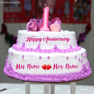 1st Wedding Anniversary Wishes Couple Name Cake Image