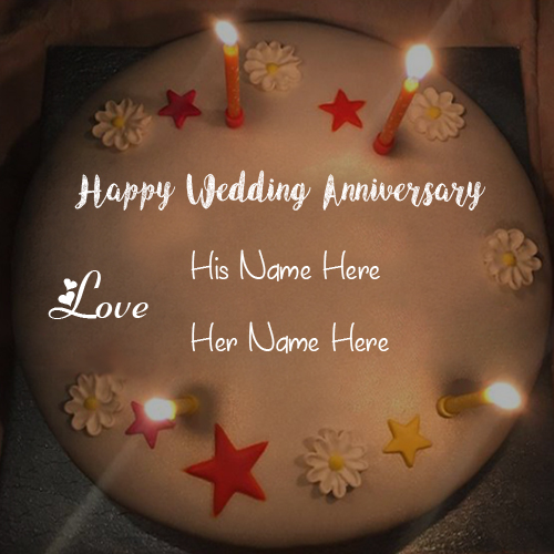 Candles Wedding Love Cake With Name