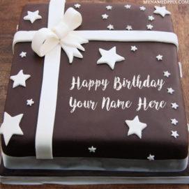 Chocolate Star Birthday Cake Kids Name Wishes Pics