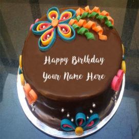 Girlfriend Birthday Wishes Chocolaty Cake With Name Image