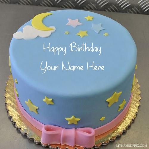 Kids Birthday Wishes Moon Star Cute Cake Name Pics