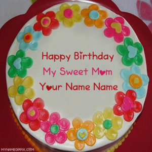Mother Name Print Birthday Wishes Beautiful Cake Profile