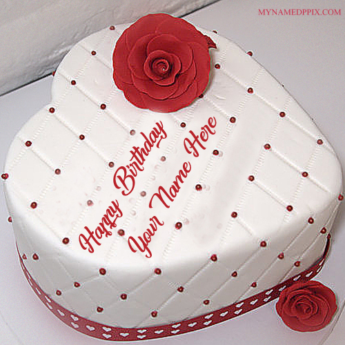 Print Lover Name Red Rose Heart Look Birthday Cake Pics