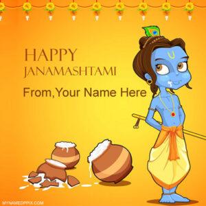 Print Name Janmashtami Wish Card Profile Pictures Create