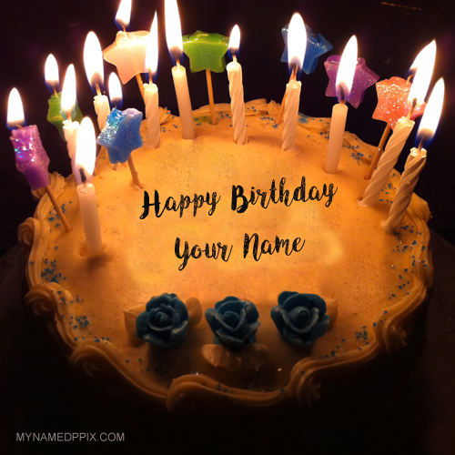 Print Name On Beautiful Candles Decoration Birthday Cake Pics
