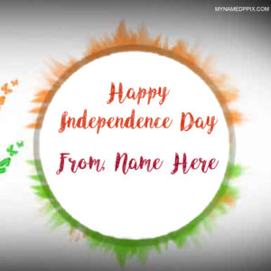 Print Name Special Wishes Indian Independence Day Image