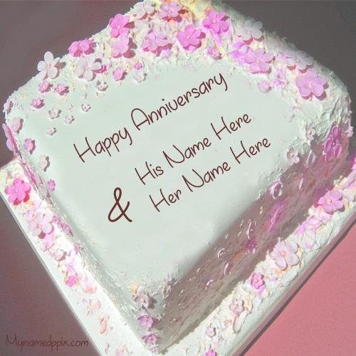 Write Couple Name On Wedding Anniversary Cake