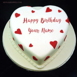 Write Girlfriend Name Beautiful Heart Shaped Birthday Cake Pics