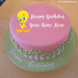 Write Kids Name Cartoon Tweety Birthday Cake Wishes