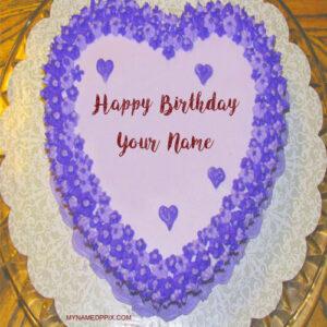 Write Name On Happy Birthday Heart Look Cake Image