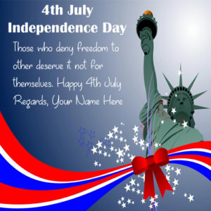 Write Name On USA Independence Day Greeting Card