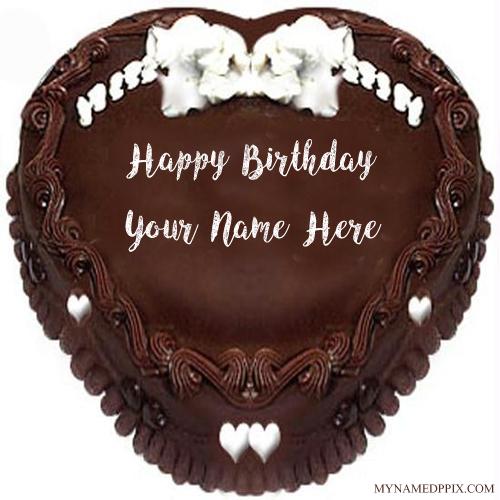 Write Name Wishes Birthday Heart Look Chocolate Cake Pics