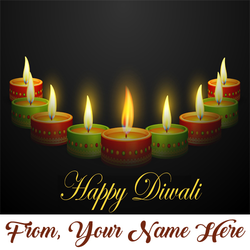 Beautiful Lighting Candles Diwali Cards Name Wishes Image