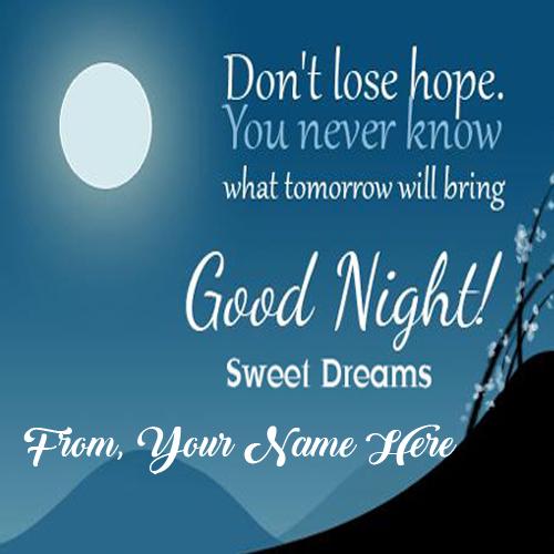 Good Night Greeting Card Name Wishes Send Whatsapp Image