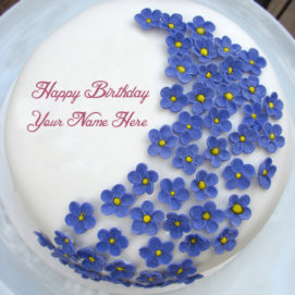 Happy Birthday Cake Name Wishes Blue Flowers Pictures