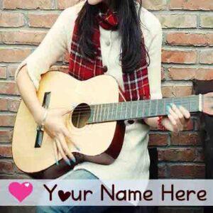 Write Name Stylish Guitar Girl Profile Image Set Whatsapp
