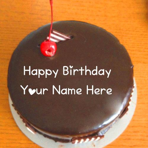 Write Name Sweet Chocolaty Birthday Cake Wishes Image