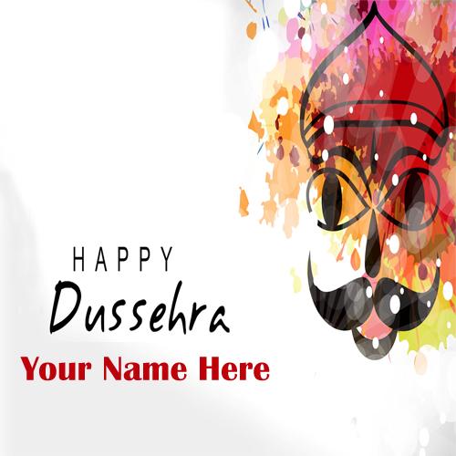 Custom Name Write Dussehra Festival Greeting Card Edit