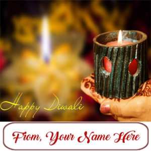 Write Custom Name Happy Diwali Diya Wishes Card Image