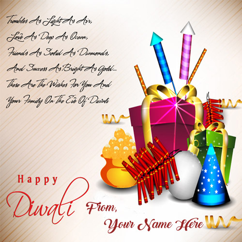 Write Name Greeting Crackers Card Diwali Wishes Pictures