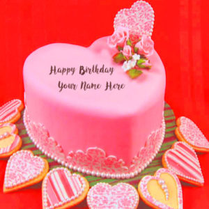 Write Name Pink Heart Look Birthday Cake Wishes Pictures