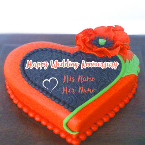 Write Names Wedding Anniversary Wishes Cake Photo