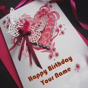 Write Sister Name Birthday Butterfly Wish Card Image