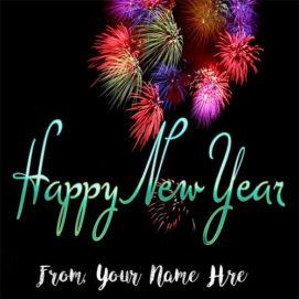 Amazing Firework New Year Wishes Name Image Edit