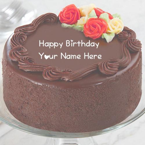 Name Wishes Happy Birthday Chocolate Cake Photo Sent